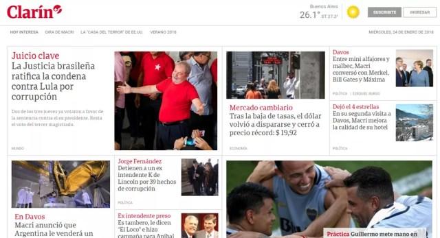 Decisão sobre condenação de Lula é manchete no site do jornal argentino 'El Clarín' na tarde desta quarta-feira (24) (Foto: Reprodução/ El Clarín)