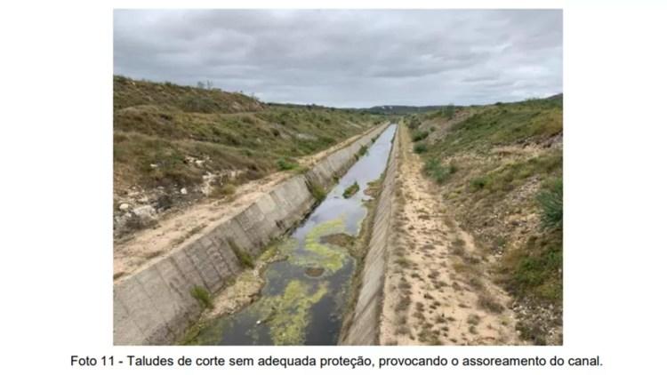 Canal da Transposição apresenta trechos com assoreamento na Paraíba — Foto: Reprodução/MPF