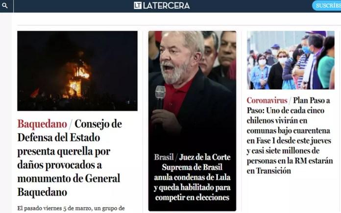 Site do chileno La Tercera destaca decisão do ministro Fachin sobre Lula — Foto: Reprodução/La Tercera