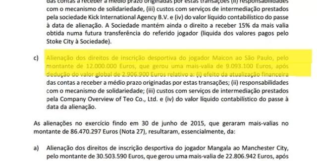 Balanço do Porto divulga venda de Maicon por 12 milhões de euros (Foto: Reprodução)