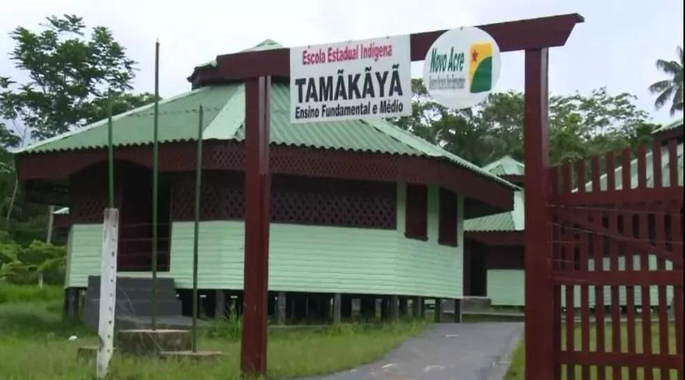 Escola foi construída dentro de aldeia  (Foto: Reprodução Rede Amazônica Cruzeiro do Sul)
