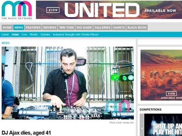 DJ Ajax em nota do site Music Network, que noticia a morte do músico nesta quinta-feira (28), na Austrália (Foto: Reprodução / Themusicnetwork.com)