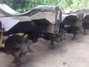 Motorista teve pneus de carreta roubados na Bahia (Foto: Reprodução/TV Bahia)