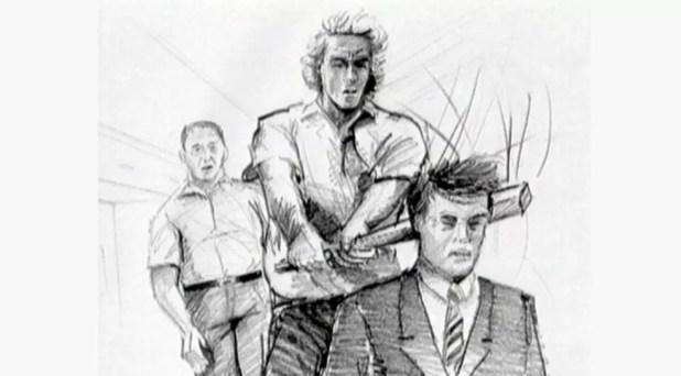 Desenho mostra reconstituição de crime que resultou na morte de bancário em Ribeirão Preto há 14 anos (Foto: Reprodução/EPTV)