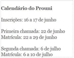 Calendário Prouni 2015.2 (Foto: G1)