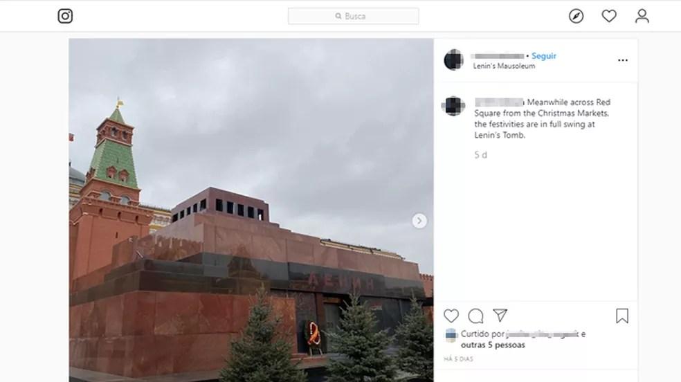 É proibido tirar fotos do corpo do líder soviético Vladimir Lenin — Foto: Reprodução/Instagram