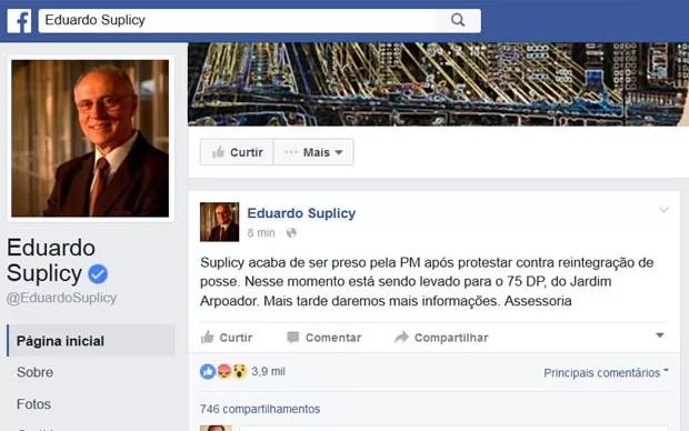 Assessoria de Eduardo Suplicy postou a prisão do ex-senador em sua página no Facebook (Foto: Reprodução/Facebook/Eduardo Suplicy)
