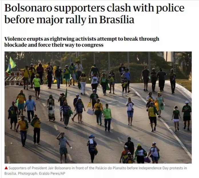 Reprodução do'The Guardian', que publicou um texto sobre as manifestações do dia 7 de setembro — Foto: Reprodução/The Guardian