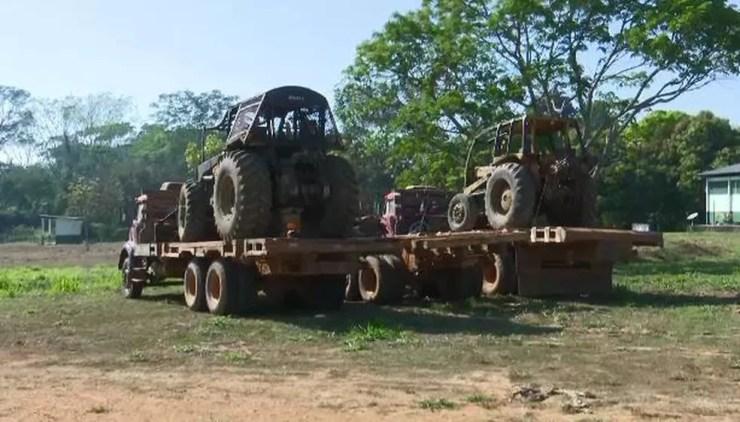 Em operação, Ibama detecta envolvimento de índios na extração e venda de madeira ilegal na Ponta do Abunã (Foto: Reprodução/Rede Amazônica Acre )