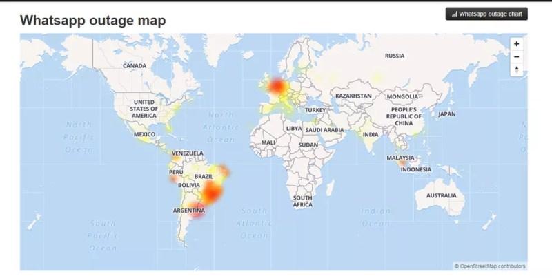 Mapa de reclamações do WhatsApp no site Down Detector — Foto: Reprodução