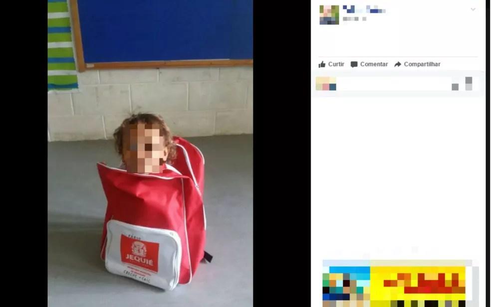 Prefeitura de Jequié, na região sudoeste, entregou utensílios que tem quase o mesmo tamanho de alunos da creche municipal — Foto: Reprodução/Facebook