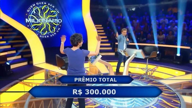 jacqueline vencedora 300 mil quem quer ser um milionario - Quem Quer Ser Um Milionário revela pergunta de R$ 1 milhão! Você acertaria?