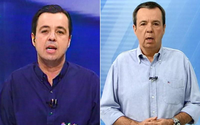 Osvaldo Luís em 1997 na EPTV Campinas e nos dias atuais, sempre à frente das notícias esportivas. — Foto: Arte/G1