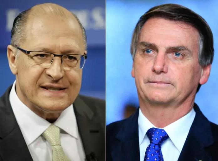 Os candidatos à Presidência Geraldo Alckmin (PSDB) e Jair Bolsonaro (PSL) — Foto: Adriana Spaca/Framephoto/Estadão Conteúdo / Myke Sena/Framphoto/Estadão Conteúdo