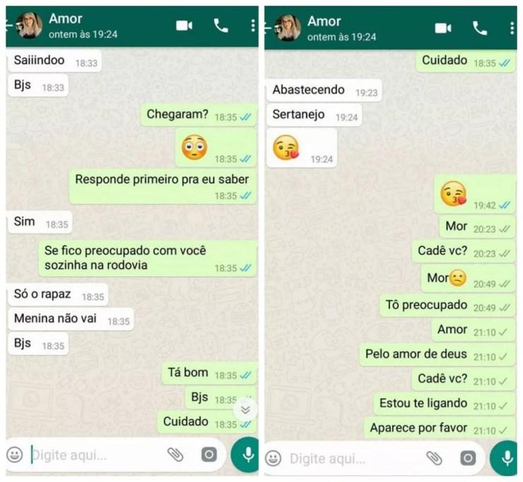 Conversa entre Kelly Cristina Cadamuro e o namorado Macos Antônio da Silva no dia do crime (Foto: Marcos Antônio da Silva/Reprodução/Arquivo pessoal)
