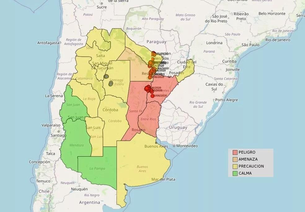 Monitoramento do governo argentino mostra que nuvem de gafanhotos se aproxima do Brasil — Foto: Reprodução/Senasa