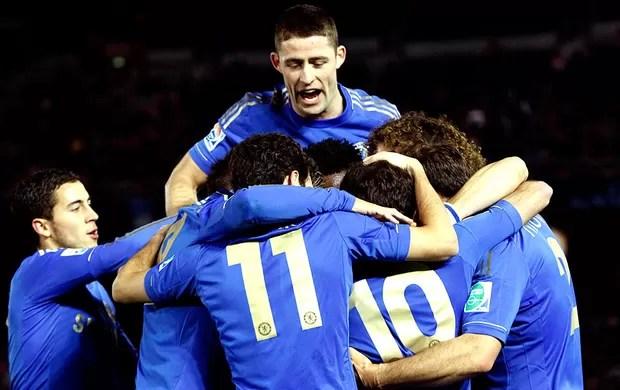 jogadores do Chelsea comemoram gol no Mundial contra o Monterrey (Foto: Reuters)
