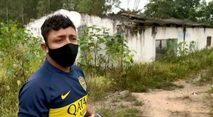 Irmão da vítima encontrou o corpo em prédio abandonado, no ES  — Foto: Reprodução/ TV Gazeta