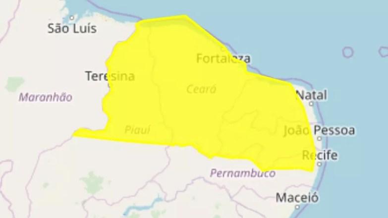 Alerta do Inmet é para 208 cidades da Paraíba — Foto: Reprodução/Inmet