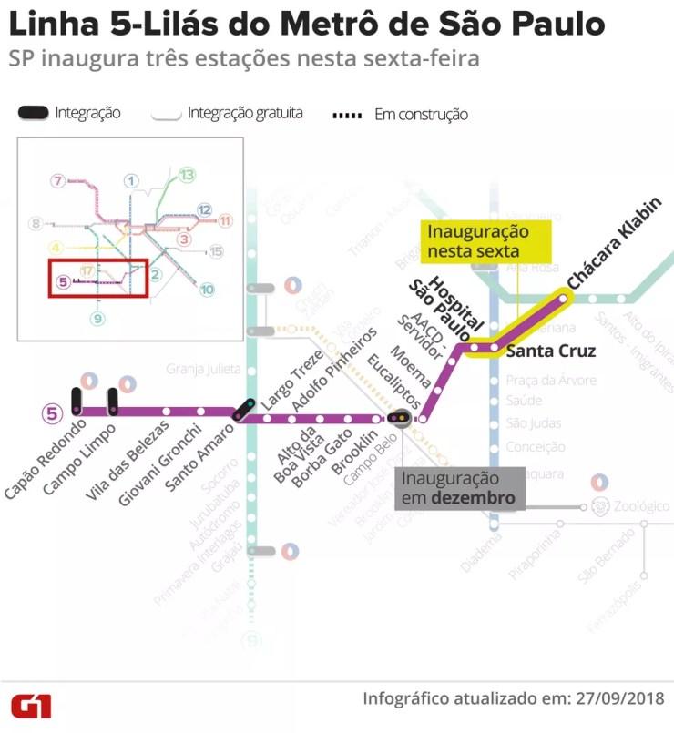 Veja o mapa da Linha 5- Lilás do Metrô de São Paulo — Foto: Roberta Jaworski/G1