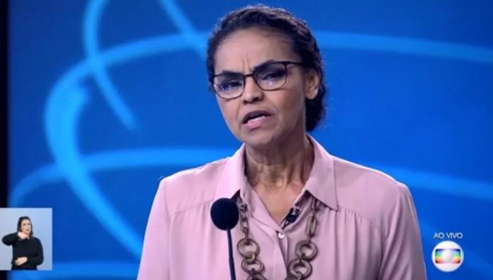 A candidata da Rede à Presidência, Marina Silva, no debate da Rede Globo — Foto: Reprodução
