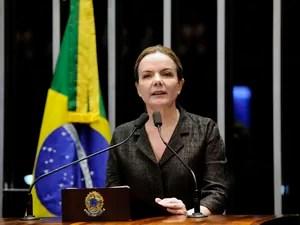 A senadora Gleisi Hoffmann (PT-PR) foi à tribuna para falar sobre a prisão do marido, o ex-ministro Paulo Bernardo (Foto: Edilson Rodrigues/Agência Senado)