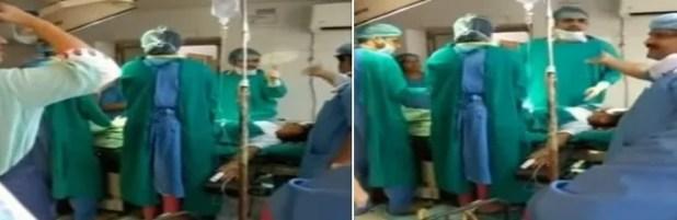Médicos discutem durante parto na Índia