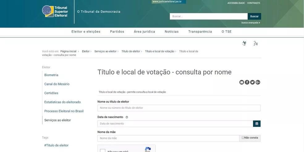 Site do TSE disponibiliza ferramenta na qual o eleitor pode conferir o local de votação — Foto: Reprodução/Site TSE
