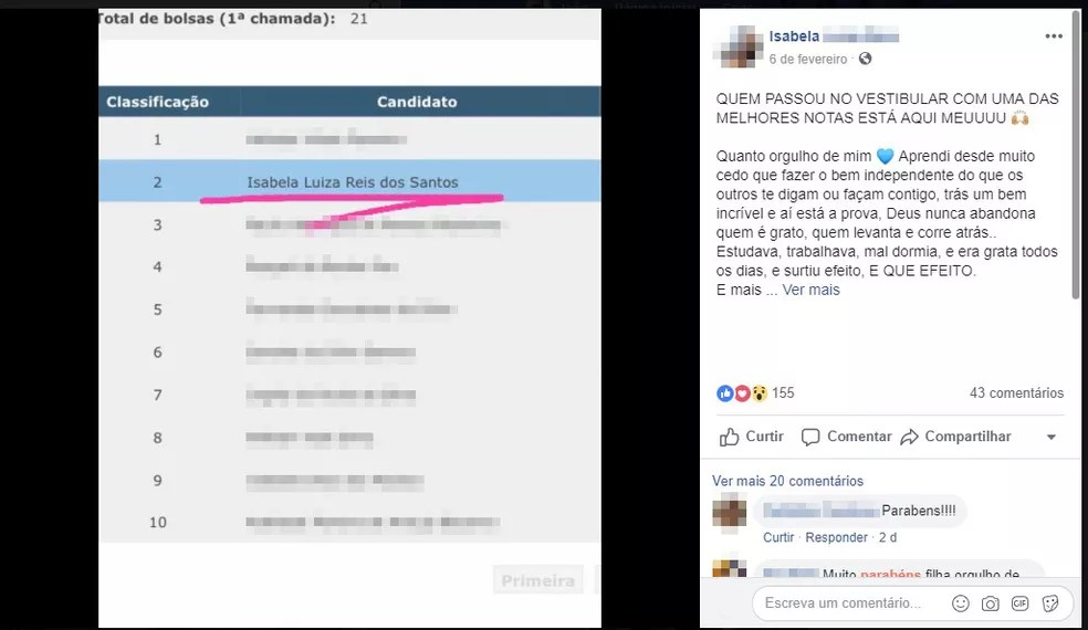 Isabela Luiza comemorou resultado de vestibular em universidade de Guarujá, SP — Foto: Reprodução/Facebook