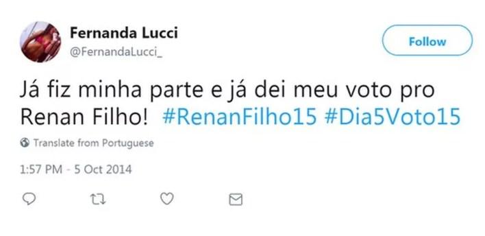Perfil falso conta ter votado em Renan Filho (PMDB-AL) (Foto: Reprodução, Facebook)
