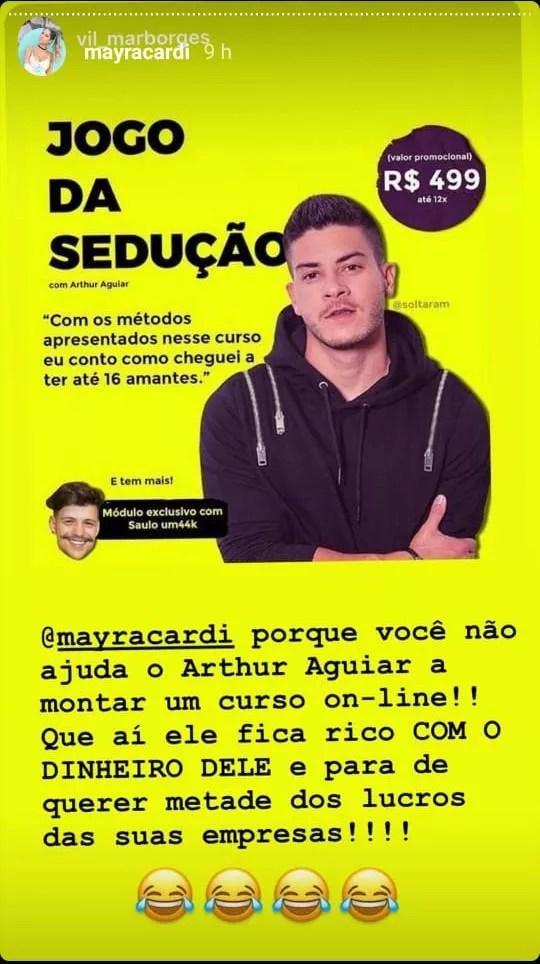 Mayra Cardi ri de sugestão de seguidor para Arthur Aguiar montar um curso de sedução (Foto: Reprodução/Instagram)