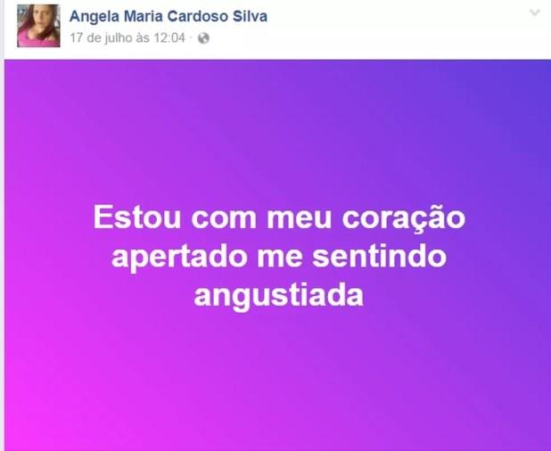 Vítima postou frases no Facebook três dias antes de ser morta (Foto: Reprodução/Facebook)