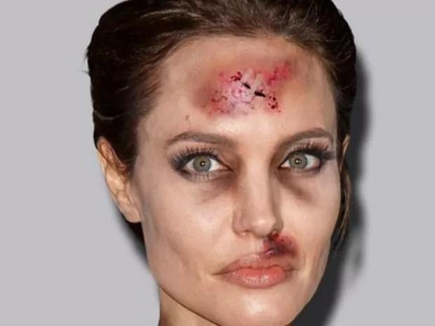 Angelina Jolie na versão 'com hematomas', de Alexandro Palombo, para conscientizar as pessoas sobre violência doméstica (Foto: #BREAKTHESILENCE)