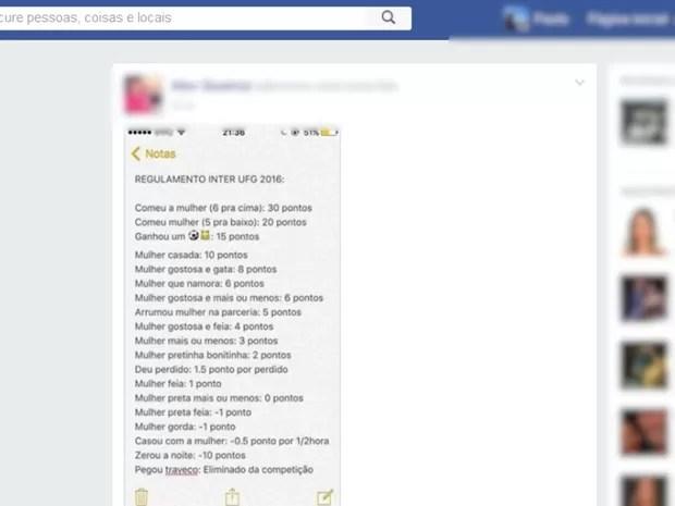 Regulamento causa polêmica nas redes sociais (Foto: Reprodução/ Facebook)