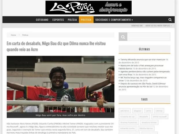 Em polêmica entre Dilma e Temer, Bau voltou a se destaque em blogs de humor em Rio Branco  (Foto: Reprodução/La Potoca )