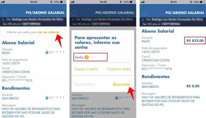 App Caixa Trabalhador mostra o saldo disponível para saque do abono salarial do PIS — Foto: Reprodução/Rodrigo Fernandes