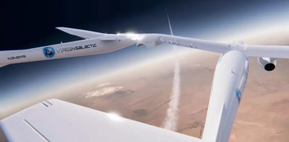 Richard Branson decola dos EUA em breve voo ao espaço neste domingo (11) — Foto: Reprodução