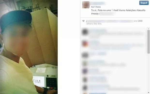 Eleitor fez 'selfie' ao votar neste domingo (5) (Foto: Reprodução/Instagram)