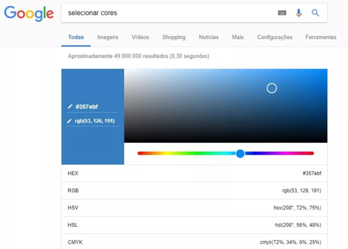 Google tem paleta que permite escolher cores direto no buscador — Foto: Reprodução/Rodrigo Fernandes