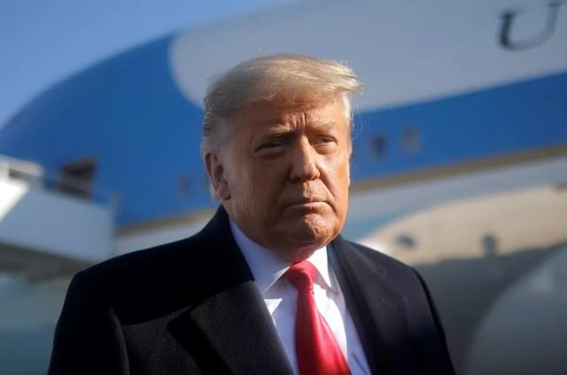 Imagem do então presidente dos EUA, Donald Trump, em 12 de janeiro deste ano — Foto: Carlos Barria/Reuters