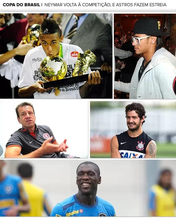 Mosaico Copa do Brasil apresentação Neymar Dunga Pato (Foto: Editoria de Arte / Globoesporte.com)