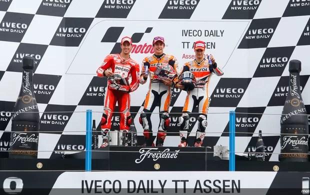 Marc Márquez, Andrea Dovizioso e Dani Pedrosa no pódio do GP da Holanda (Foto: Divulgação/MotoGP)