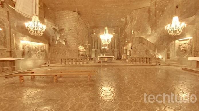Minas de sal Wieliczka com lustre de cristal no Google Street View (Foto: Reprodução/Barbara Mannara)