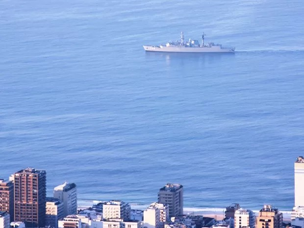 De acordo com a Marinha, a maioria das 26 embarcações utilizadas na segurança tem médio porte, mas a corporação conta com uma corveta e uma fragata (Foto: Marcos Estrella/TV Globo)