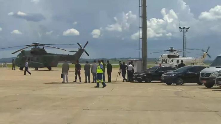 Helicópteros usados nos sobrevoos — Foto: Reprodução/TV Globo