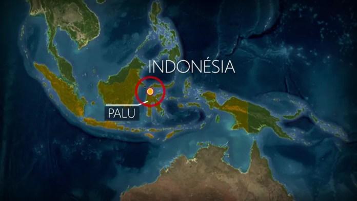 Tremor atinge a Indonésia — Foto: Bom Dia Brasil/ Reprodução G1