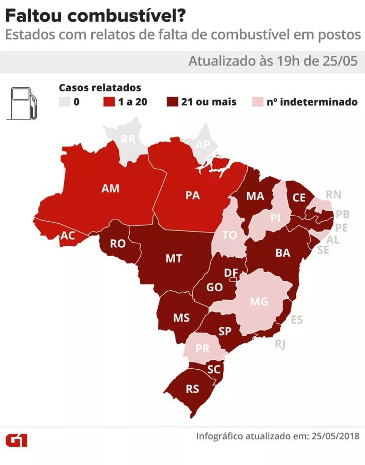 19h: Mapa de estados onde há relatos de postos sem combustível (Foto: Alexandre Mauro e Igos Estrella/G1)