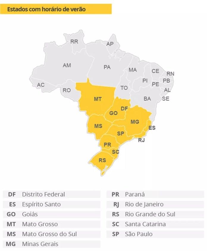 Mapa do horário de verão no Brasil (Foto: Arte/G1)