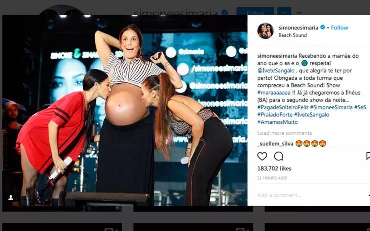 A dupla Simone e Simaria compartilhou o momento no Instagram (Foto: Reprodução / Instagram)