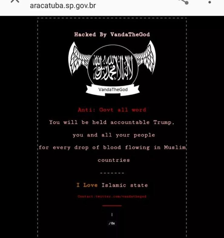 Hackers escreveram 'Eu amo Estado Islâmico' em inglés (Foto: Arquivo Pessoal)